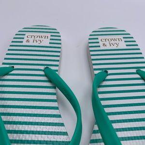 crown & ivy Shoes - Crown & Ivy Fionna Flip Flop Green Stipe Flamingo